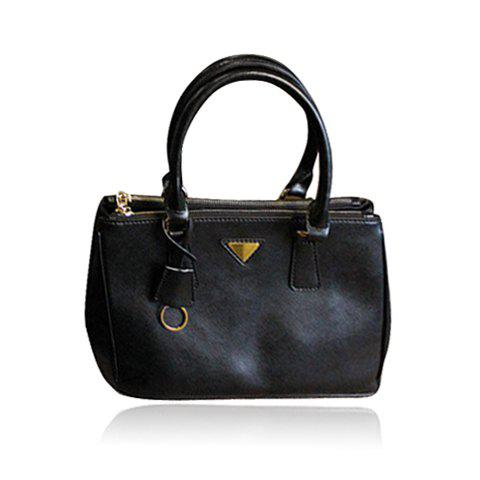 Trendy Laconic Outdoor Solid Color and Double Zipper Design Women's Tote Bag - BLACK