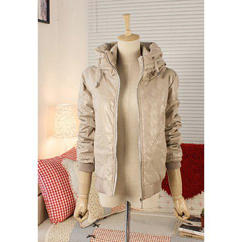 Stylish Stand-Up Collar Long Sleeve Solid Color Glossy Surface Women's Coat - APRICOT