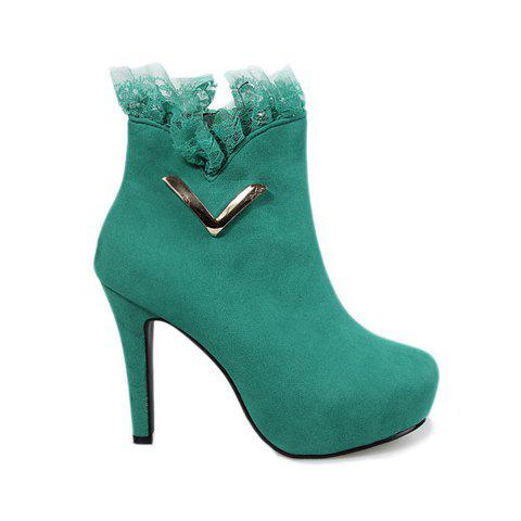 Party Lace and Metal Design Women's Ankle Boots - GREEN 36