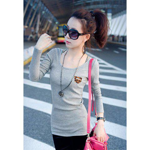 Casual Style Leopard Pocket Backless Long Sleeve Cotton Blend Women's Long T-Shirt - GRAY ONE SIZE