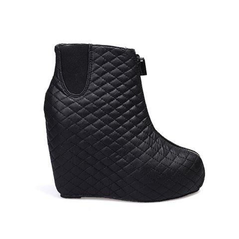 Party Zipper and Checked Design Women's Short Boots - BLACK 39