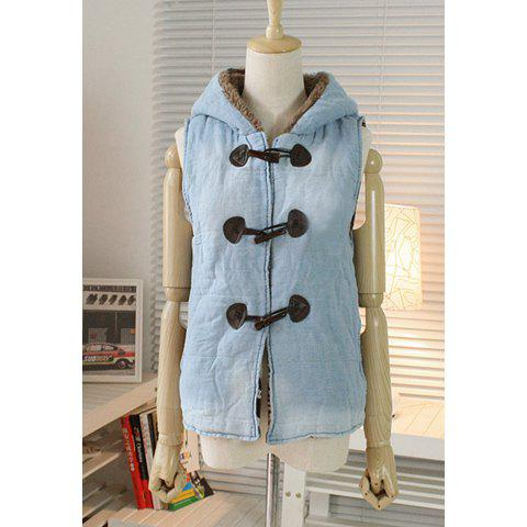 Cute Ears Hooded Sleeveless OX Horn Button Denim Women's Coat