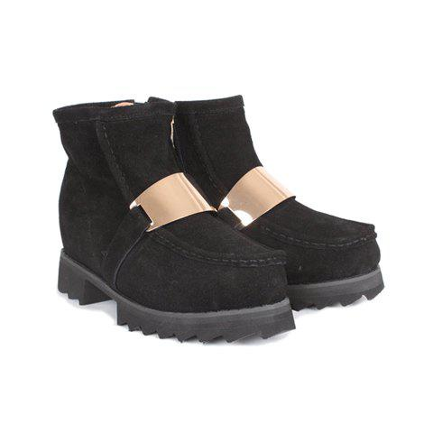 Outdoor Trendy Metal and Side Zip Design Women's Short Boots - BLACK 37