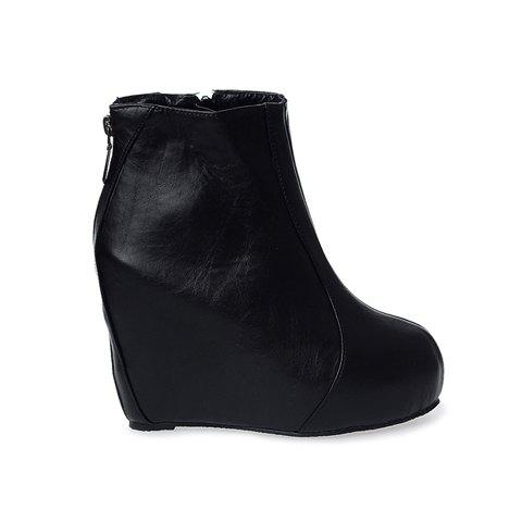 Casual Solid Color and PU Leather Design Women's Short Boots