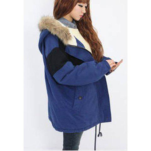 Concise Casual Style Hooded Zipper Design Pocket Embellished Long Sleeve Women's Coat - BLUE ONE SIZE