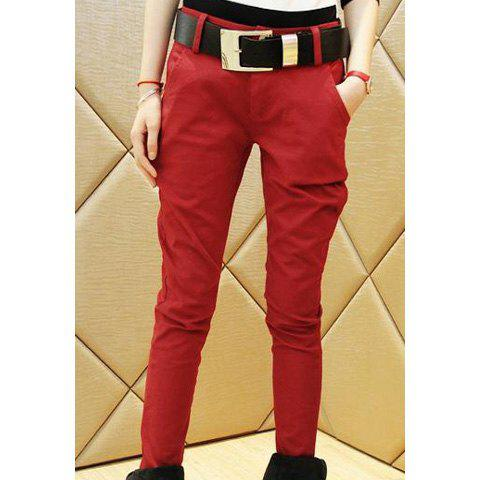 Casual Fashionable Style Slimming Solid Color Cotton Blend Women's Harem Pants With Belt - WINE RED S