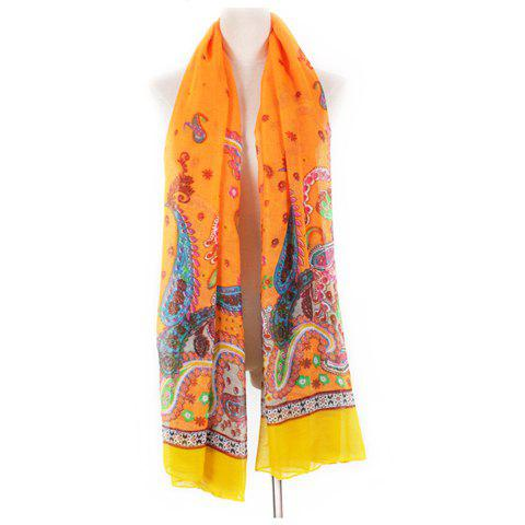 Hot Sale Fashion Ethnic Style Color Block Scarf For Women - ORANGE