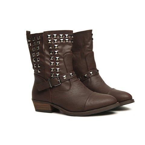 Casual Dashing Flats Belt Studs Design Women's Boots - COFFEE 36
