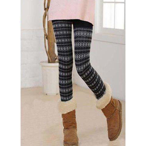 Fashion Slimming Thicken Fleece Snowflake Pattern Women's Leggings - COLOR ASSORTED ONE SIZE