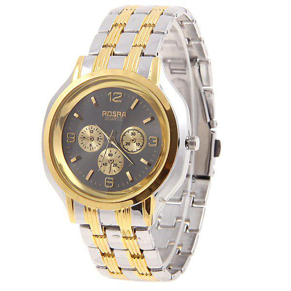 Rosra men 39 s watches with golden quartz analog round shaped dial steel watchband black dial in for Rosra watches