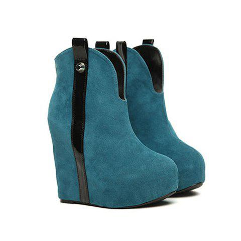 Casual Suede and Zipper Design Women's Short Boots - BLUE 38