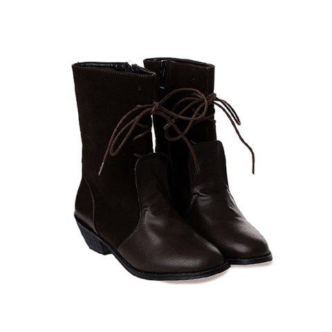 Casual Stylish Splicing and Suede+PU Leather Design Women's Short Boots - BROWN 38