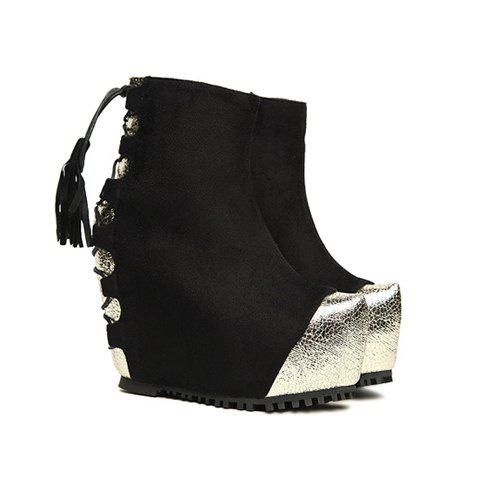 Causal Trendy Splicing Lace-Up and Tassels Design Women's Short Boots - BLACK 37