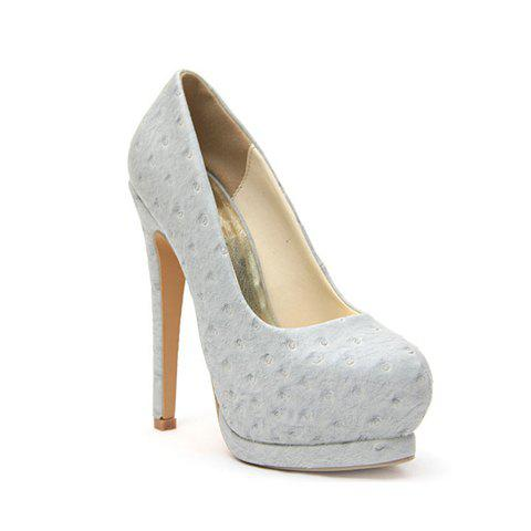 Charming Party Dot Print Design Women's Pumps - GRAY 38