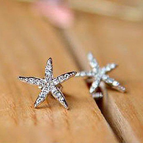 Pair of Exquisite Cute Style Five-Point Star Shape Rhinestoned Stud Earrings For Women