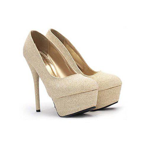 Wedding Bling-Bling Design Stiletto Heel Women's Pumps - GOLD 35