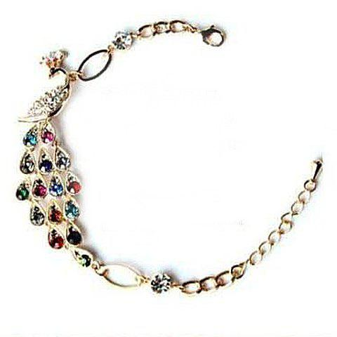 Peacock Shape Rhinestone Embellished Bracelet - AS THE PICTURE