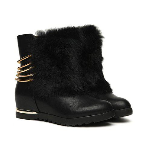Casual Solid Color Chain Sequins Fur Design Women's Short Boots - BLACK 35