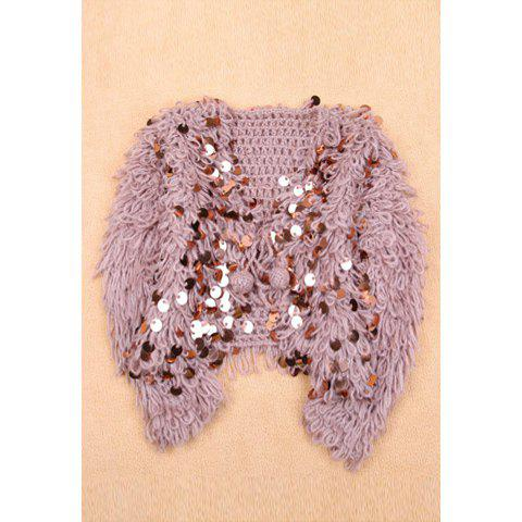 Fashionable Sequins Embellished Long Sleeve Sweater Coat For Women