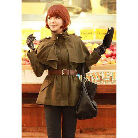 Stylish High Neck Long Sleeve Dolman Design Solid Color Women's Coat - ARMY GREEN