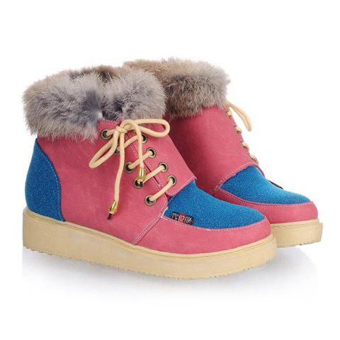 Casual Stylish Color Matching Lace-Up Cony Fur Design Women's Short Boots - RED 39
