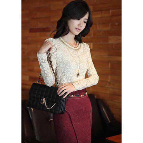 Elegant Scoop Neck Faux Necklace Lacework Long Sleeves Skinny Cotton Blend Women's T-Shirt - WHITE S