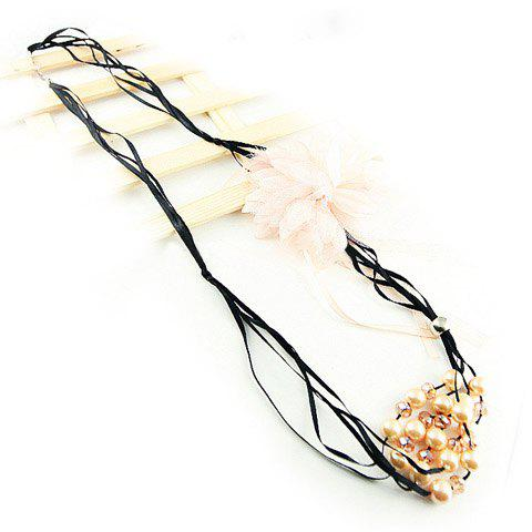 Multilayer Beads Design Flower Feather Embellished Necklace - PINK