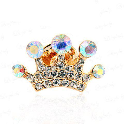 Graceful Sweet Style Rhinestone Embellished Crown Shape Women's Brooch - GOLD