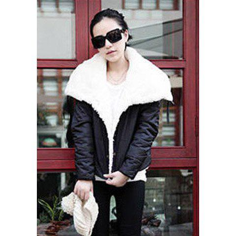 Stylish Turndown Collar Thicken Women's Coat - BLACK ONE SIZE