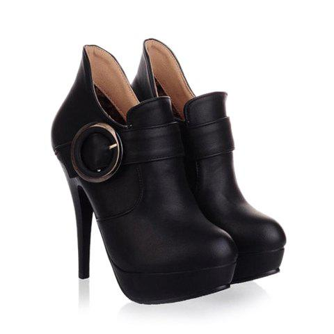 Casual Laconic Solid Color Stiletto Heel Belt Platform Design Women's Pumps - BLACK 36