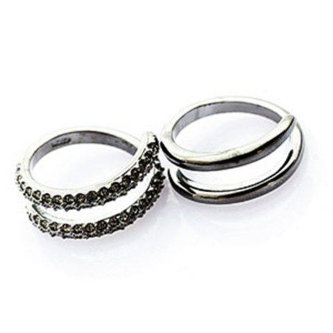 Pair of Romantic Sweet Style Rhinestone Embellished Rings For Lovers - BLACK