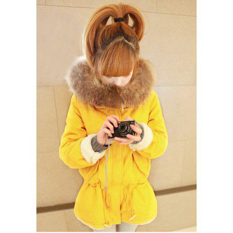 Sweet Fashionable Hooded Waist Drawstring Zipper Design Solid Color Long Sleeve Women's Coat - YELLOW ONE SIZE