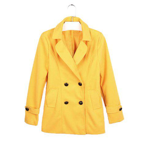 Elegant Double-Breasted Lapel Collar Long Sleeves Women's Yellow Wool Blend Coat - YELLOW M