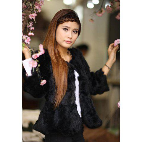 Gorgeous Scoop Neck Fluffy Simple Design 3/4 Sleeves Woolen Blend Women's Jacket - BLACK ONE SIZE