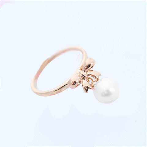 Elegant Sweet Style Pearl Bowknot Embellished Women's Finger Ring
