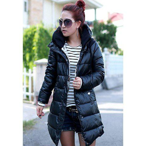 Solid Color Stand Collar Hooded Women's Wadded Coat - BLACK XL