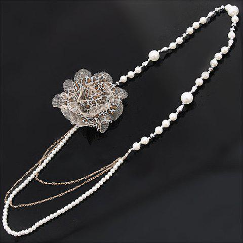 Fashion Style Leopard Pattern Flower Shape Pearl Embellished Sweater Chain For Women - AS THE PICTURE