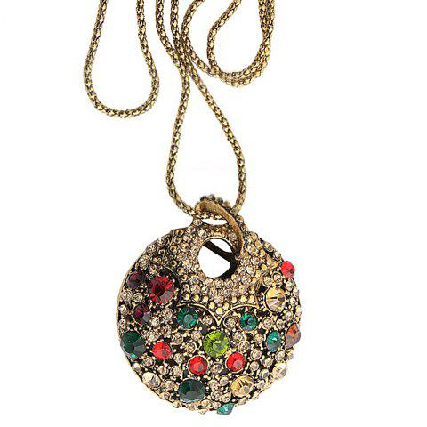 Fashion Retro Style Colorful Rhinestone Embellished Sweater Chain For Women - COLOR ASSORTED