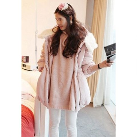 Sweet Fashionable Imitation Fur Collar Thicken Waist Drawstring Long Sleeve Solid Color Cotton-Padded Women's Coats - PINK M