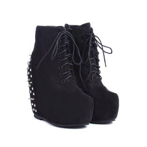 Party Rivet and Lace-Up Design Women's Wedge Heel Short Boots - BLACK 36