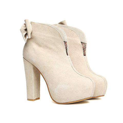 Party Pure Color and Bowknot Design Women's Ankle Boots - APRICOT 39