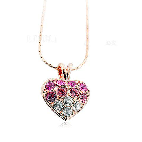 Graceful Sweet Style Ombre Rhinestone Embellished Heart Shape Women's Necklace - RED