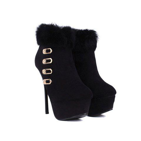 Stylish Party Pure Color Cony Hair and Metal Buckle Design Women's Short Boots