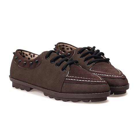 Casual Suede Lace-Up Rivets Splicing Design Women's Flats - COFFEE 38