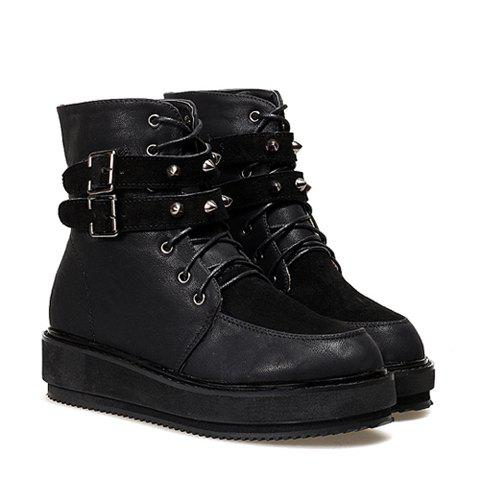 Casual Dashing Splicing Lace-Up Belts Rivet Design Women's Short Boots - BLACK 37