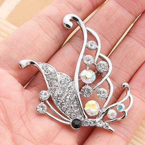 Elegant Style Rhinestone Embellished Openwork Butterfly Shape Brooch - AS THE PICTURE