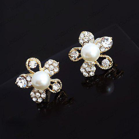 Retro Style Flower Shape Rhinestone and Pearl Inlaid Ear Clips For Women stunning style flower shape rhinestone embellished faux pearl inlaid alloy chains women s earrings for