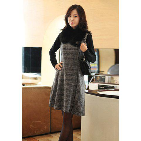 Chic V-Neck Plaid Flared Slimming Sleeveless Women's Wool Blend Dress - GRAY L