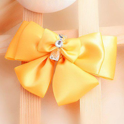 Sweet Graceful Style Rhinestoned Bowknot Shape Women's Brooch - YELLOW