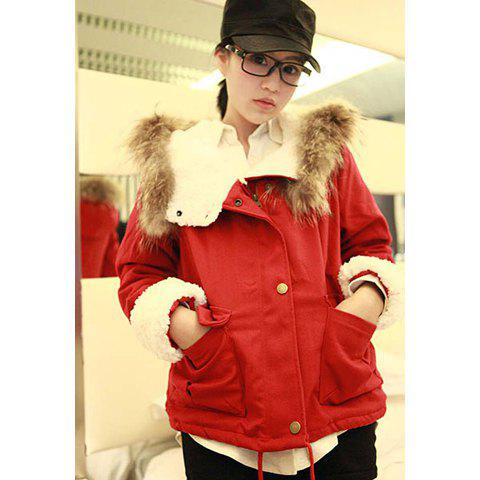 Mordern Style Scoop Neck Embellished Long Sleeve Cotton Blend Fleece Women's Hooded Coat - RED M